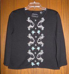 Michael Simon Black Silk Knit Beaded Silver & Turquoise Geckos Frogs Cardigan M #MichaelSimon #Cardigan