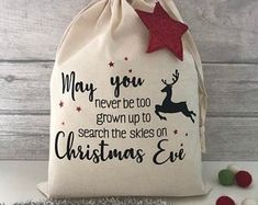 Check out our christmas decorations selection for the very best in unique or custom, handmade pieces from our shops. Christmas Eve Box For Adults, Kids Christmas, Christmas Crafts, Christmas Decorations, Childrens Christmas, Christmas Sack Ideas, Christmas Clothing, Christmas Countdown, Christmas Wrapping