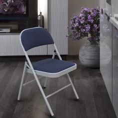 Furnistars Folding Chairs with Blue Fabric Back & Seat and Tubular Steel Legs (Set of 2)