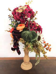 This is a beautiful Arrangement. Stands tall and is one sided perfect for a sideboard or accent table. #candlesticks #flowerarranging #floralarrangements #fallflowerarrangements #falldecor Navy Bedroom Decor, Room Wall Decor, Home Decor Colors, Interior Colors, Flower Arrangements Simple, Tray Decor, Xmas Decorations, Candlesticks, Colorful Interiors
