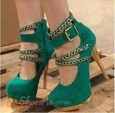 Stylish Green Suede Ankle Strap Metal Chain Platform Heels