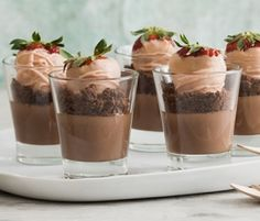Dark Chocolate Cheesecake Pots: Pretty as a picture, this quick and easy dessert really takes the cheesecake. http://www.bakers-corner.com.au/recipes/desserts/dark-chocolate-cheesecake-pots/