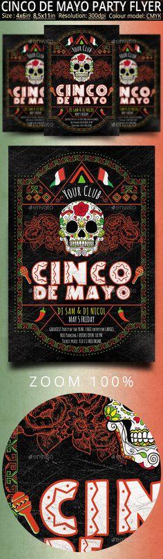 Cinco de Mayo Retro Vintage Flyer — Photoshop PSD #hispanic #mayo • Available here → https://graphicriver.net/item/cinco-de-mayo-retro-vintage-flyer/19792496?ref=pxcr