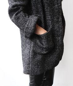 chunky herringbone coat