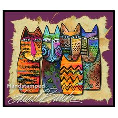 Laurel Burch Tribal Cats Cling Rubber Stamp Set