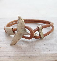 Whale Tail Bracelet - Nautical Bracelet Beach Jewelry Leather and Metal by StarDelights on Etsy https://www.etsy.com/listing/186890213/whale-tail-bracelet-nautical-bracelet