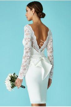 774182ddee Biała sukienka na ślub cywilny z kokardą z tyłu