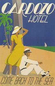 """""""Cardozo Hotel,"""" an Art Deco poster created by Woody Vondracek...The Cardozo Hotel is an Art Deco hotel in South Beach, Florida"""