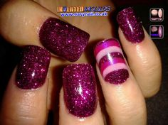 Stunning Fuchsia Pink Glitter Inverted Moulds with a feature nail using our Fuchsia and Cotton Candy Pink Nail Art Acrylic. Created by Cheryl Hammond  IM Nail Training Available from www.easynail.co.uk  #Invertedmoulds #Fuchsia #Pink #Glitter #Nails #nailart #acrylicnails #nailporn #nailgasm #nailtraining