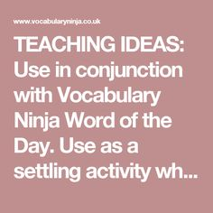TEACHING IDEAS: Use in conjunction with Vocabulary Ninja Word of the Day. Use as a settling activity when pupils arrive in the classroom. Ask pupils to write a short story, using the GIF as a stimuli. Have pupils generate a list of vocabulary that they could use to describe. Focus on verbs, noun, adjectives, prepositions that come to mind - list them. 5 word story challenge - pupils may only use 5 words! List colours that can be seen, then modify with an adjective. Discuss emotions the…