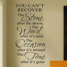 Vinyl Wall Lettering Quote Recover Stone Word Occasion Time Large Size