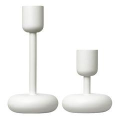 Nappula kynttil�njalka, valkoinen, 2 kpl