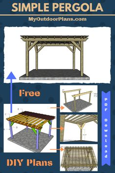 This step by step diy project is about pergola plans. I have designed this pergola with a base and a roof, so you can create a nice shaded area in your backyard. This pergola features a super sturdy structure with several decorative elements. Pergola Patio, Wooden Pergola, Pergola Shade, Pergola Kits, Backyard Patio, Pergola Ideas, Cheap Pergola, Pergola With Canopy, Patio Ideas