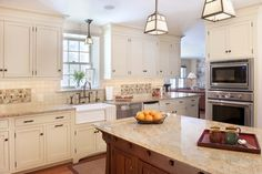 Traditional Kitchen - craftsman - kitchen - philadelphia granite on counter-   small mosaic tiles with less colors for backsplash