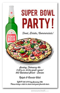 A supreme pizza and cold beer is ready for hungry guests, perfect for Super Bowl party invitations, football party invitations, backyard football, tailgating invitations and more.just change the wording to reflect your event. Football Party Invitations, Beer Cheese Fondue, Pizza And Beer, Premium Beer, Beer Poster, Beer Festival, Pizza Party, Party Guests, Super Bowl