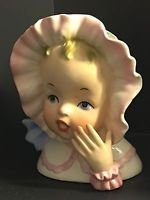 VINTAGE BEAUTIFUL GIRL WITH PINK TRIM BONNET & HAND HEADVASE BY ENESCO