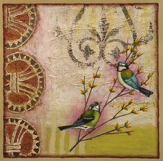 Art, painting on paper, mixed media, pattern, yellow. www.rachelpaxton.com