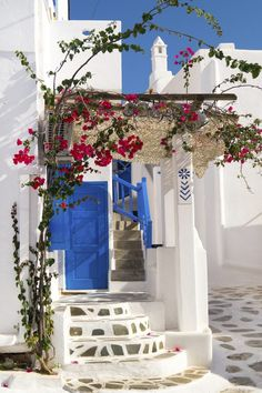 The front entrance of a Greek style home.