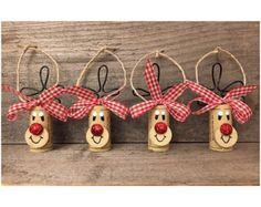Lot de 4 bouchons en liège renne ornements, décorations de Rudolph, ornements de Liège recyclé, Noël cadeau Tags, les amateurs de vin cadeau, cadeau vin