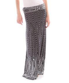 Another great find on #zulily! Black & Gray Zigzag Maxi Skirt - Women #zulilyfinds