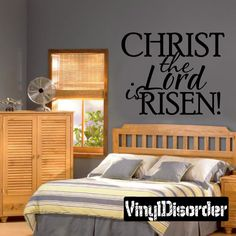 Christ the lord is risen Easter Holiday Vinyl Wall Decal Mural Quotes Words HD078