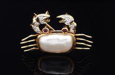 Solid 18K Yellow Gold Crab Pin w Pearl Diamond Ruby Eyes Fine Estate Jewelry | eBay