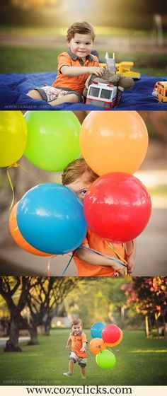 Two year old portraits in Scottsdale with balloons