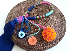Navy blue magenta aquacolor multicolor good luck tassel charm with evil eye and pom pom-handmade boho lucky charm-hippie decor ornament Trendy Accessories, Handmade Accessories, Fashion Accessories, Handmade Items, Goodluck Charms, Hippie Home Decor, Evil Eye Charm, Velvet Ribbon, Lucky Charm