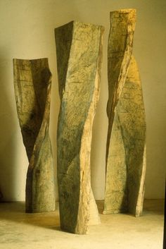 """Emilie Brzezinski : White Oak Verticals, 1998, 12'3"""" high, white oak will be one of the four installations shown at the exhibit."""