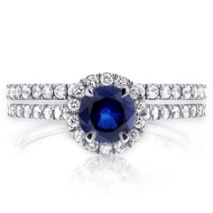 Annello 14k Gold Round-cut Sapphire and 1/2ct TDW Diamond Halo Bridal Set