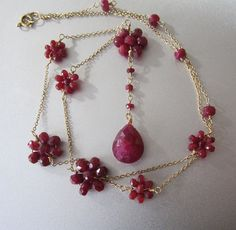 Ruby+Flower+Solid+14k+Gold+Drop+Necklace+by+jenco8+on+Etsy,+$390.00