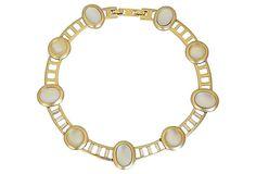 1980s Monet Faux-Moonstone Cabochon Collar Necklace