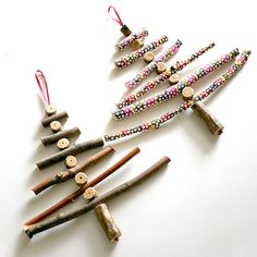 DIY Twig Christmas Tree Ornaments.  This is a great project to do with kids.  Children love to whittle wood and collect it too, so a great way to get out in nature and bring it inside!