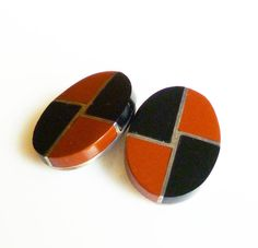 Mexican Sterling Earrings Onyx Agate Modernist by zephyrvintage