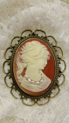 Carnelian Cameo Brooch with Pearls - pinned by pin4etsy.com