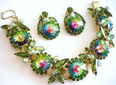 Mint D E Juliana Peacock Rivioli Rhinestone 5 Link Bracelet Earring Set RARE   eBay