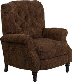 #FeedtheChildren Traditional Tobacco Fabric Tufted Hi-Leg Recliner [AM-2650-6370-GG], 32-inch Width by 39-inch - 58-inch Depth by 40-inch Height.