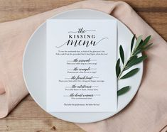 Kissing Menu, Wedding Kissing Menu, Kissing Menu Printable, Wedding Reception Sign, Wedding Game, Template, PDF Instant Download #BPB310_48