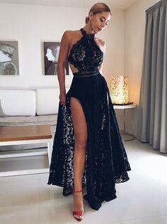 Black lace prom dress - ALine Halter Prom Dresses,Floor Length Prom Dress,Black Prom Dresses,Lace Prom Dress with Split – Black lace prom dress Black Prom Dresses, Cheap Prom Dresses, Prom Party Dresses, Homecoming Dresses, Sexy Dresses, Dress Black, Long Dresses, Dress Prom, Prom Gowns