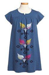 Tea Collection 'Sucre' Graphic Notch Neck Dress (Toddler Girls, Little Girls & Big Girls)