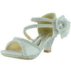 Kids Dress Sandals Asymmetrical Rhinestones Heart High Heel Shoes Silver little girl pageant shoes footwear wedding flower girl