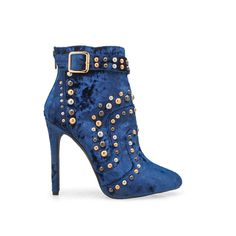 Finish your ensemble with a rocker-chic accent in this daring bootie decorated with edgy studs and a velvet design. Ankle Heels, High Heel Boots, Bootie Boots, Shoe Boots, Ankle Boots, Shoes Heels, Women's Boots, High Heels, Stilettos