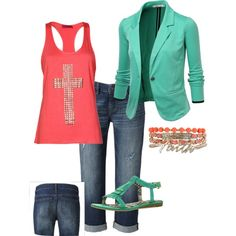 """""""Coral - Mint Capri Outfit"""" by tracy-shoopman on Polyvore"""