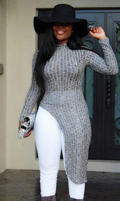 Fashion high-necked long-sleeved sweater dress L216054