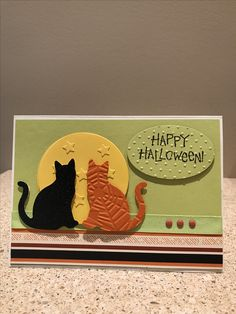Halloween card made using the Stampin' Up Cat Punch. Halloween Scrapbook, Up Halloween, Halloween Cards, Fall Cards, Holiday Cards, Christmas Cards, Dog Cards, Kids Cards, Stamping Up Cards