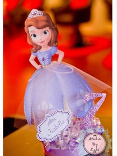 Decorations at a Sofia the First party!  See more party ideas at CatchMyParty.com!  #partyideas #princess