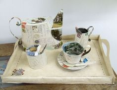 Paper Tea Set, with Tray | Made By Hand Jennifer Collier