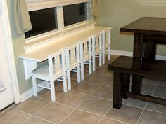 "Great idea for the house that has multiples (or multiple extra kids that show up!)   ""The table, or 'bar' if you will, is a 6 foot shelf from Home Depot. I picked one that was laminate (read: WATER PROOF) for $13.  Then, I found a couple shelf braces and painted those with a bright white enamel to match. 6 bucks/each.  The chairs are from IKEA, and came in at 12.99/each. I think."