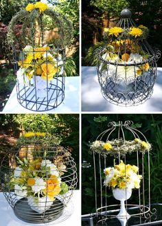 bird cage arrangements | Charming Gray And Yellow Baby Shower — Celebrations at Home