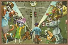 Mainzer Dressed Cats Postcard - Getting on Train - Printed in Belgium